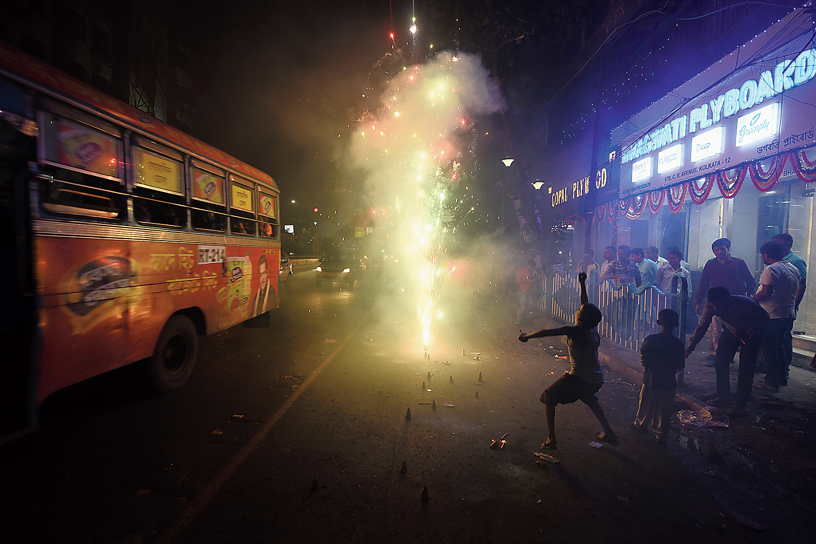 Diwali firecrackers being burst on Central Avenue, near Mohammad Ali Park, on Wednesday night.