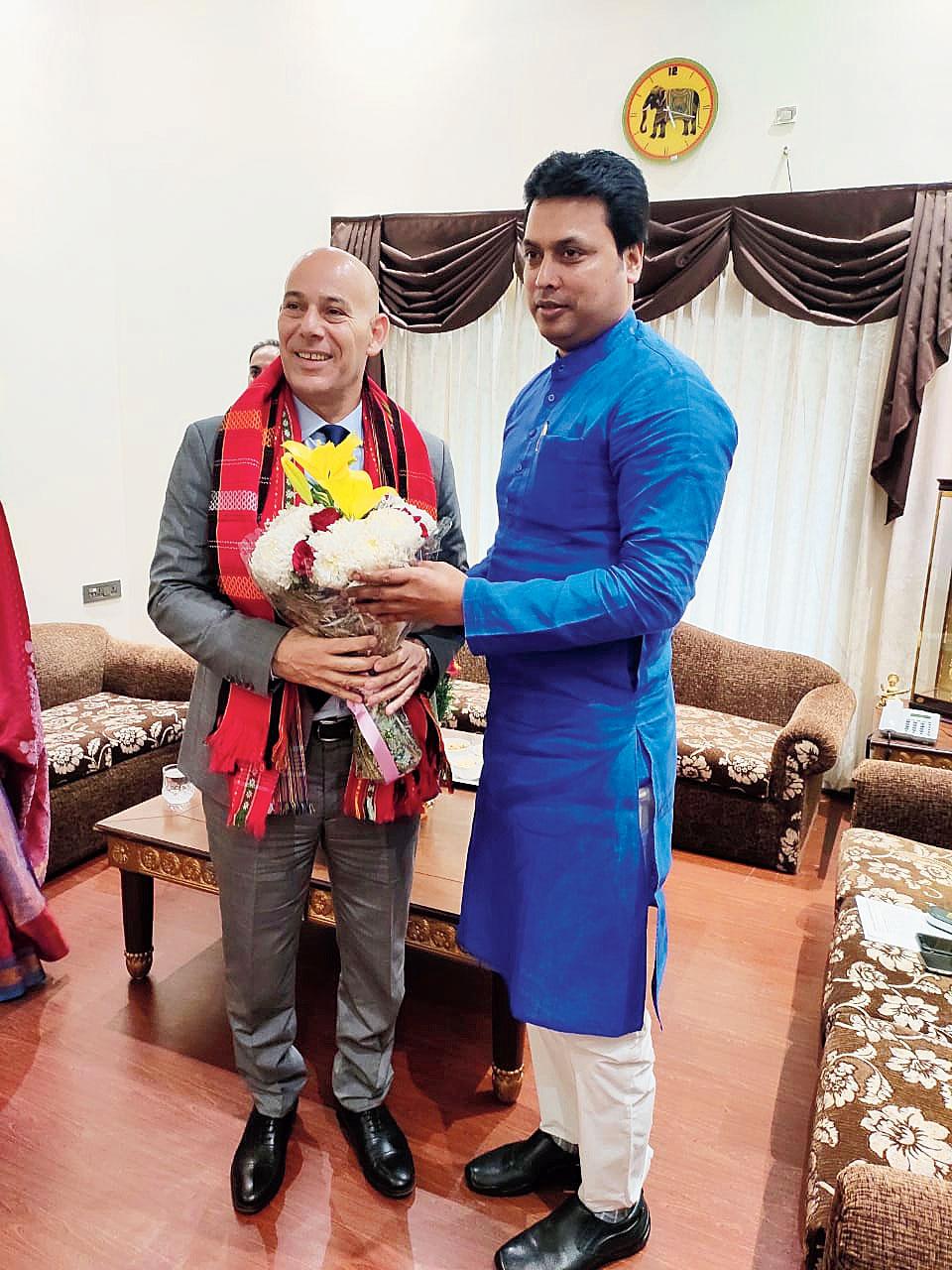 Biplab Kumar Deb greets Ron Malka in New Delhi