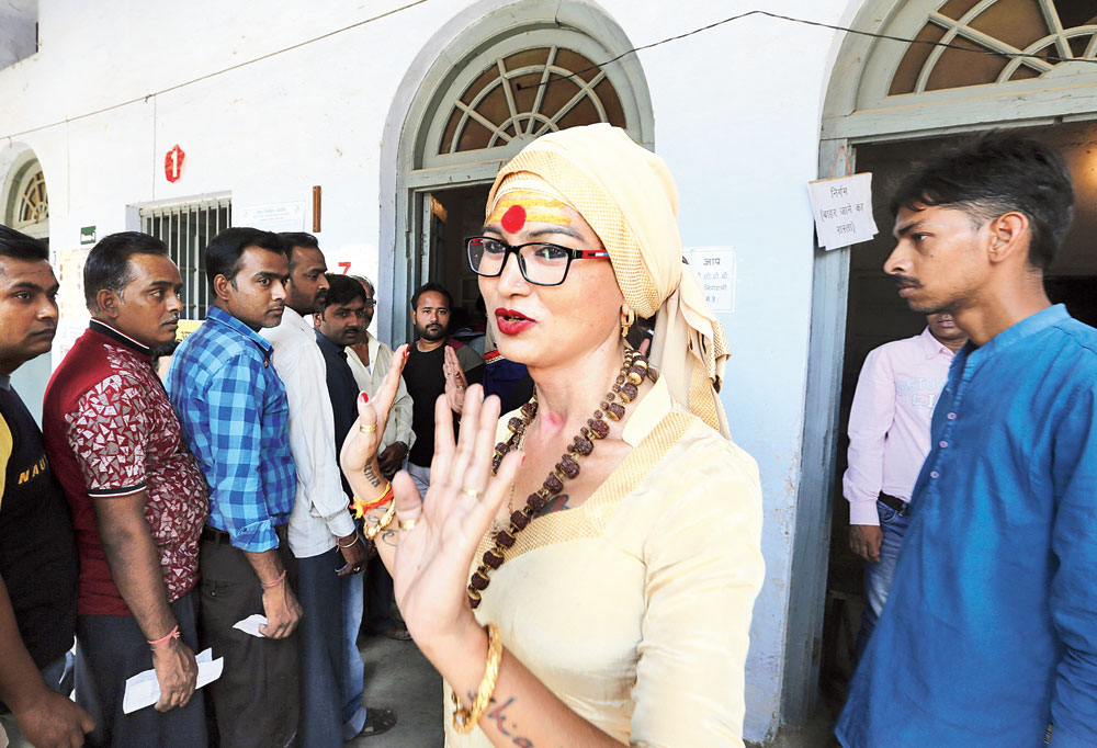 Bhavani Singh, a transgender candidate fielded by AAP, at a polling station in Allahabad on May 12.