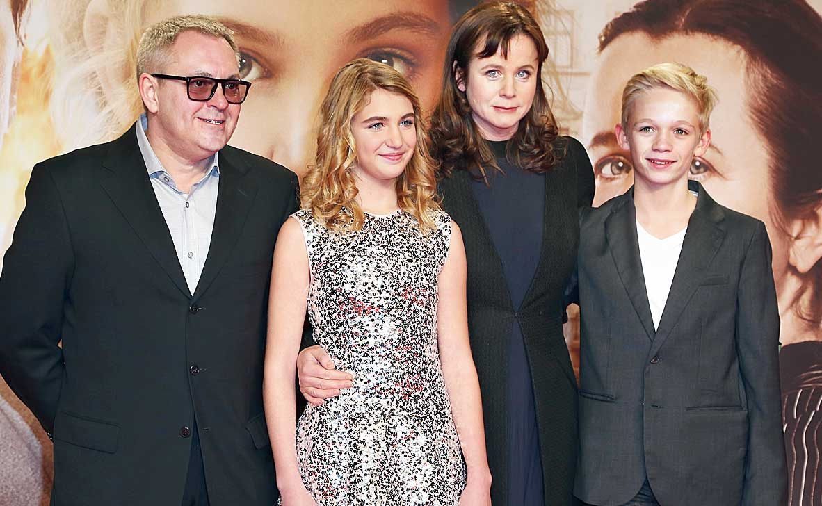 The cast and crew of The Book Thief — (l-r) Brian Percival, Sophie Nelisse, Emily Watson and Nico Liersch — at the premiere in Germany