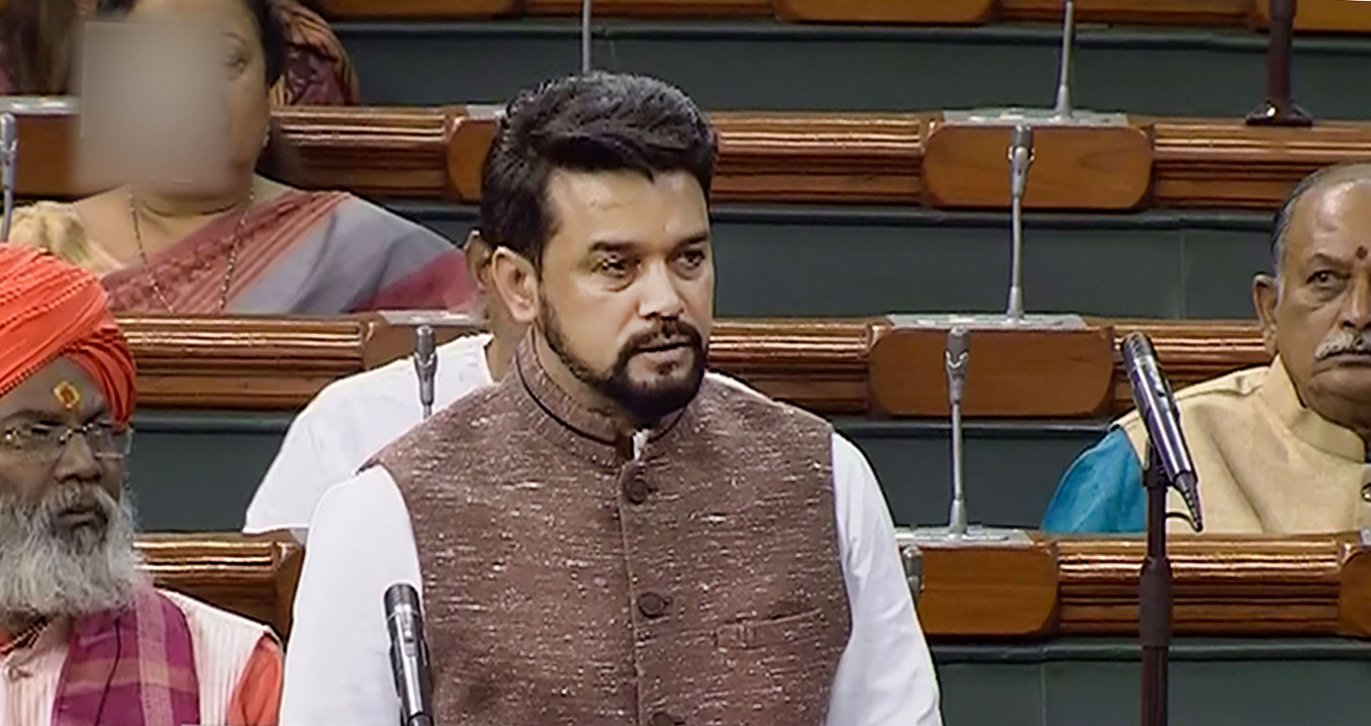 The incident has triggered a row, drawing sharp reaction form the Congress which has demanded that the Election Commission (EC) take action against minister of state for finance Anurag Thakur.