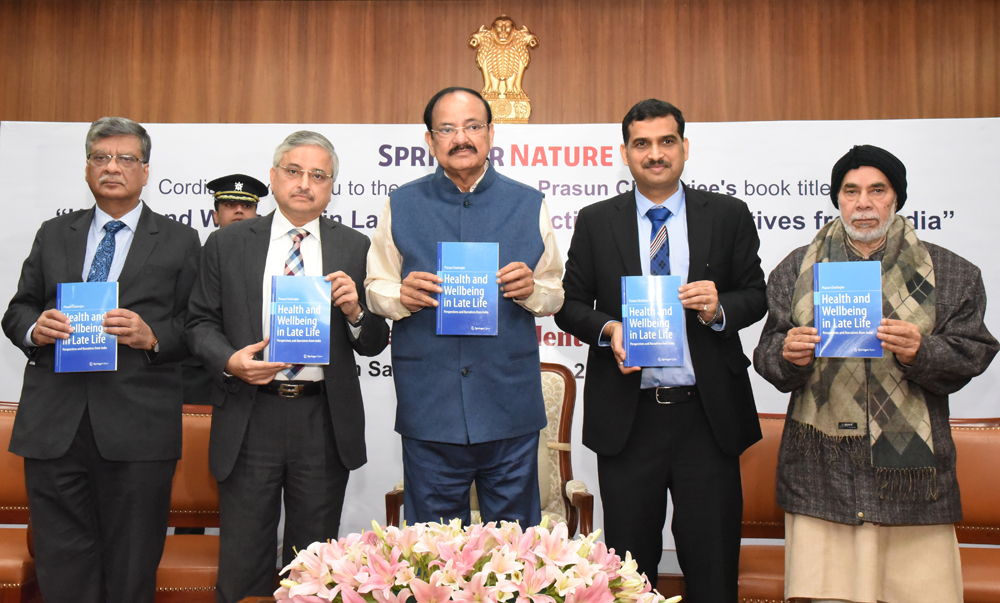 Vice-president M Venkaiah Naidu releases the book, Health and Wellbeing in Late Life: Perspectives and Narratives from India, in New Delhi on December 21
