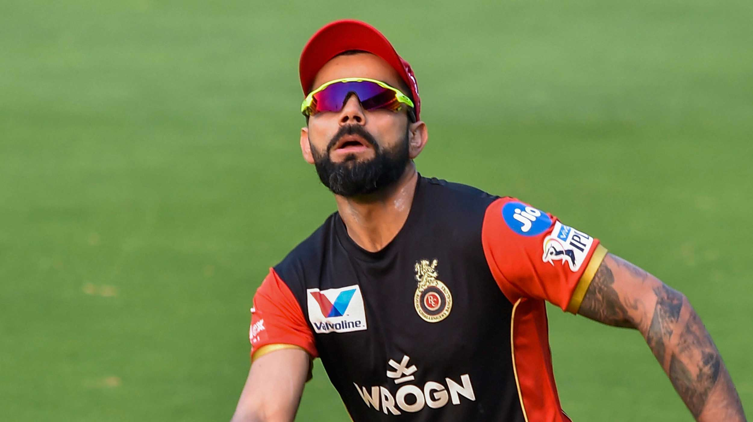 Virat Kohli during a training session ahead of the IPL T20 cricket match between Sunrisers Hyderabad and Royal Challengers Bangalore at Rajiv Gandhi International Cricket Stadium in Hyderabad, on March 30, 2019.