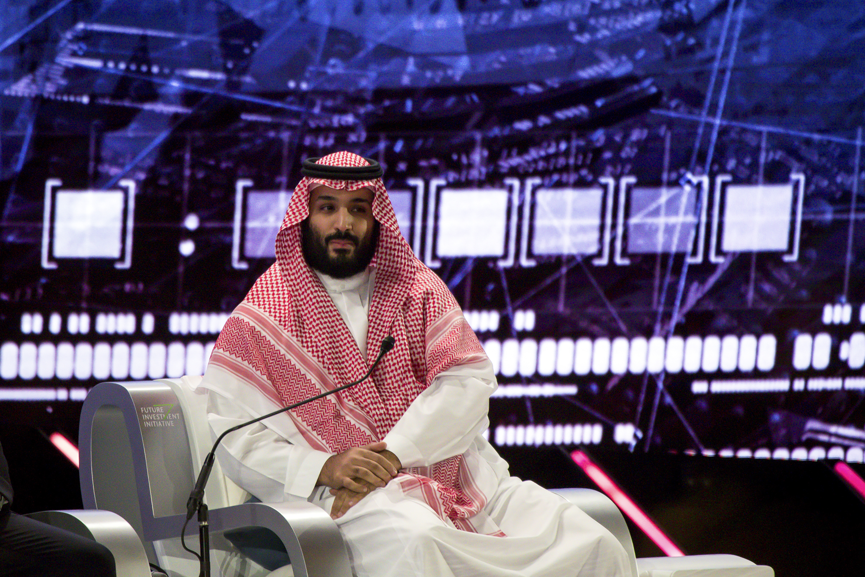 Crown Prince Mohammed bin Salman speaks at an investor conference in Riyadh on October 24, 2018.