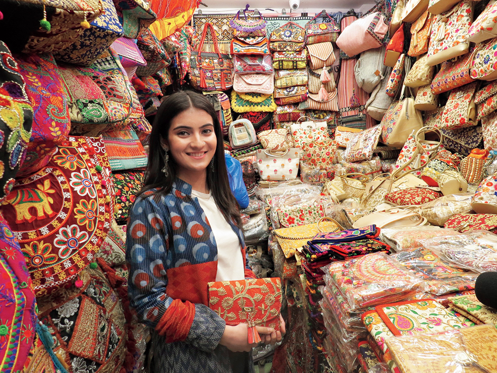 Pratibha pauses for a spot of shopping in Rishikesh