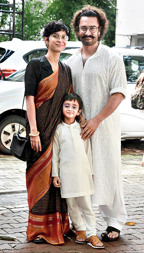 Aamir with wife Kiran Rao and son Azad.