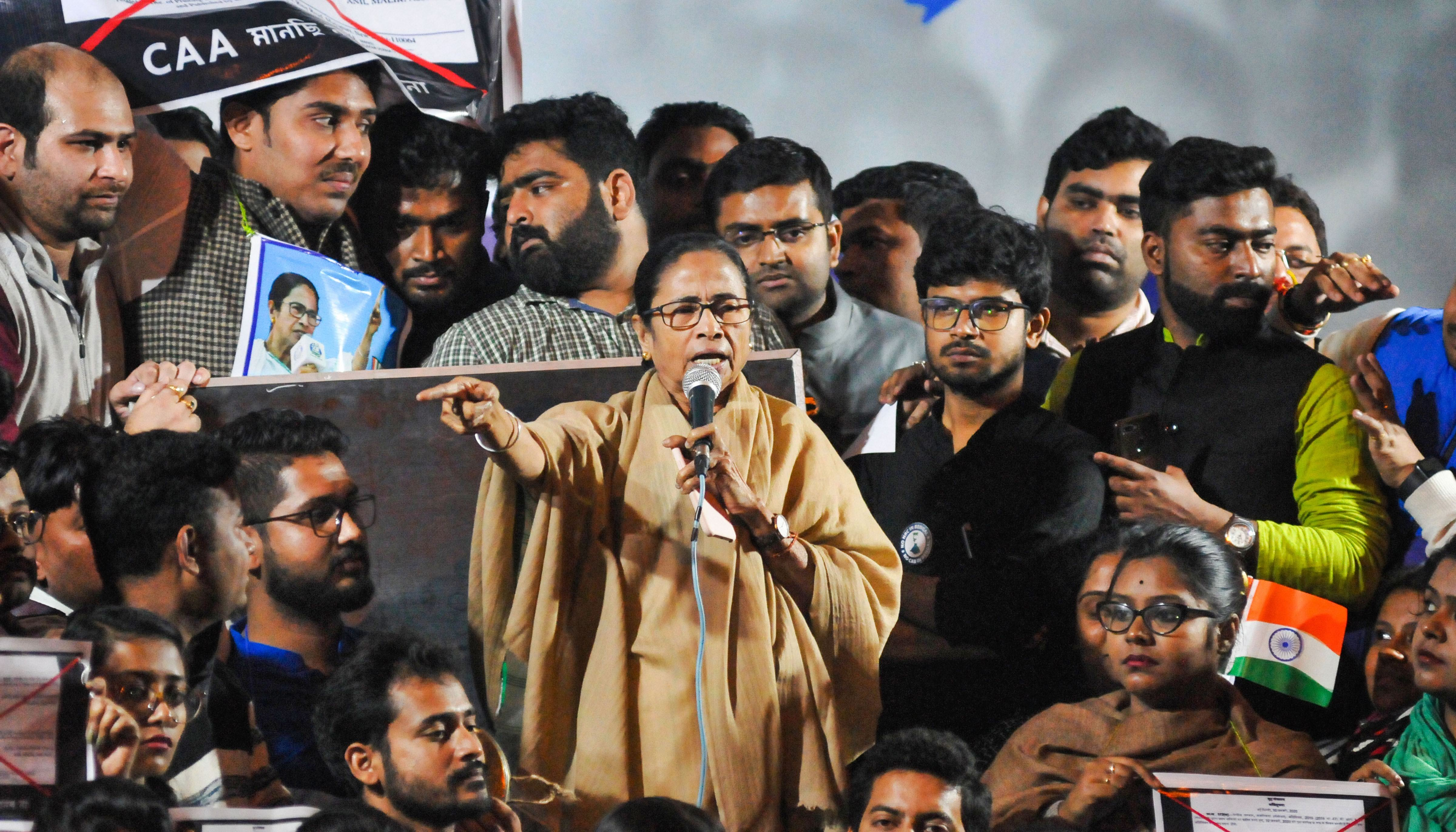 West Bengal chief minister Mamata Banerjee during a protest against CAA, NRC and NPR, in Kolkata, Saturday, January 11, 2020.