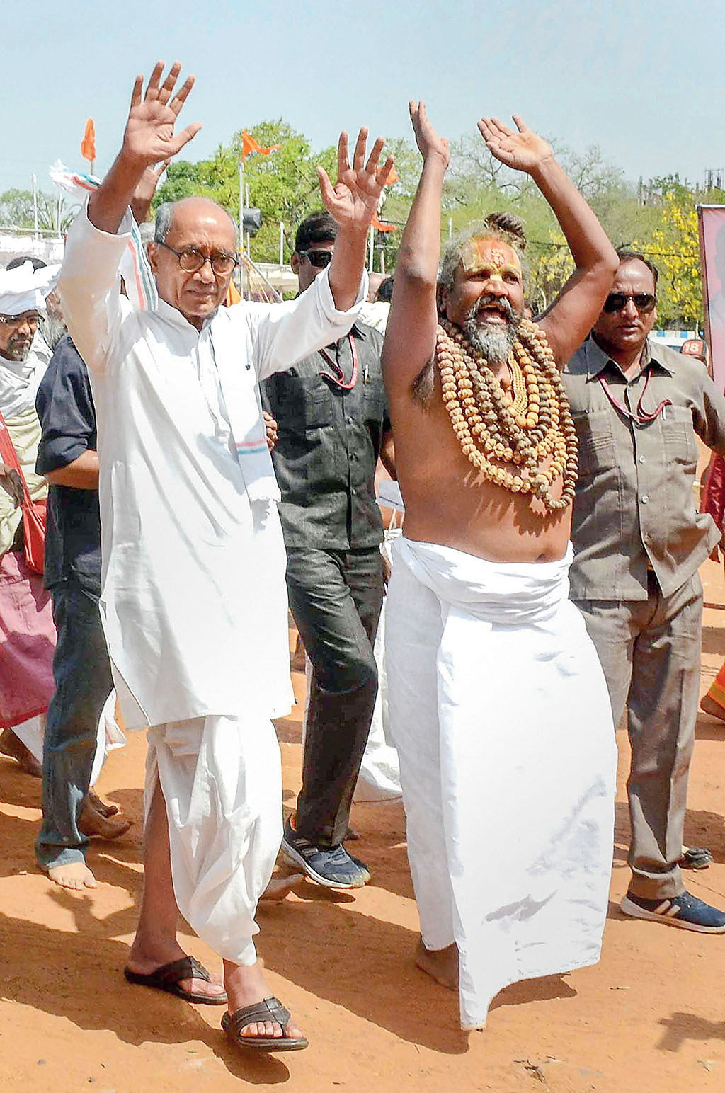 Digvijay Singh along with Computer Baba in Bhopal on May 07, 2019. The Congress candidate for the Bhopal Lok Sabha seat proclaimed that he had no less than seven temples in his own home