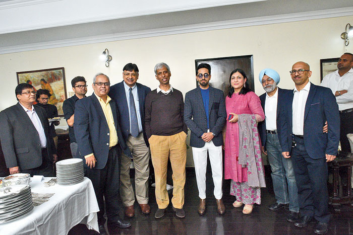 CATCHING UP: Prior to the KALAM session, Ayushmann and his Shubh Mangal Zyada Saavdhan director Hitesh Kewalya dropped in for lunch with the top management of Tata Steel, the principal sponsors of the Kolkata Literary Meet.