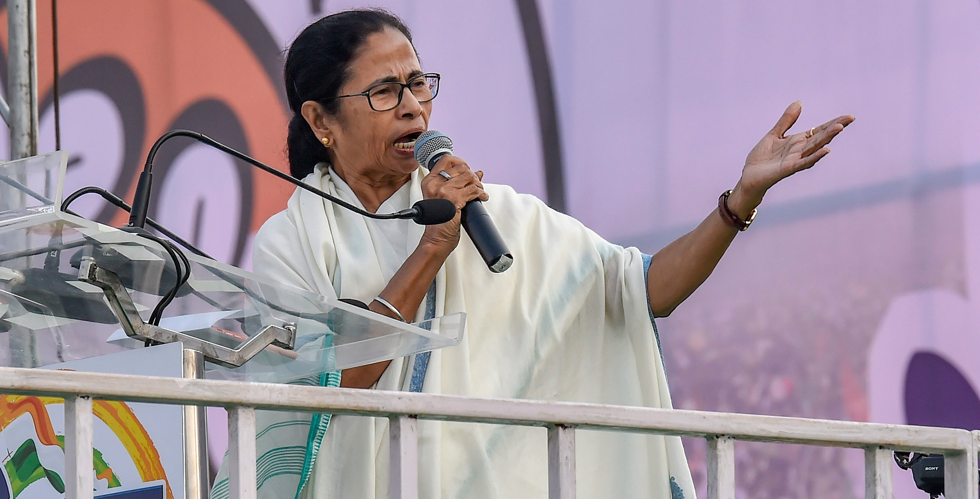 Bengal chief minster Mamata Banerjee speaks at her party's mega rally in Calcutta on Saturday, January 19.
