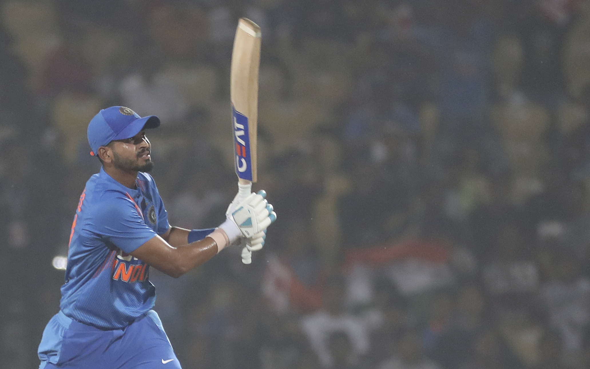 India's Shreyas Iyer bat during third Twenty20 international cricket match against Bangladesh in Nagpur , India, Sunday, November 10, 2019