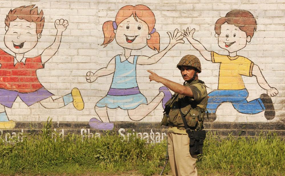 A trooper in Srinagar