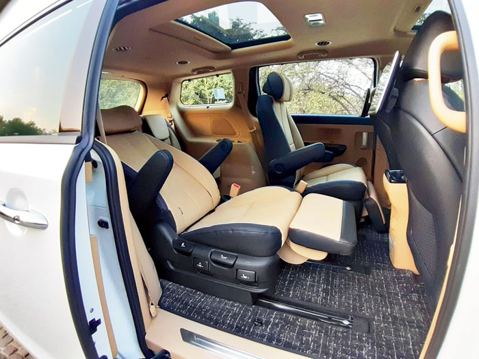 The limousine version comes with VIP seats in the middle row that can recline and is equipped with an extendable leg rest. The seats also move back and forward, as well as sideways to accommodate the various seat set-ups (far right) that can vary for seven to nine occupants.