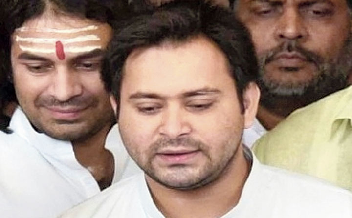 Tejashwi Prasad Yadav outside the Bihar Assembly on Thursday.