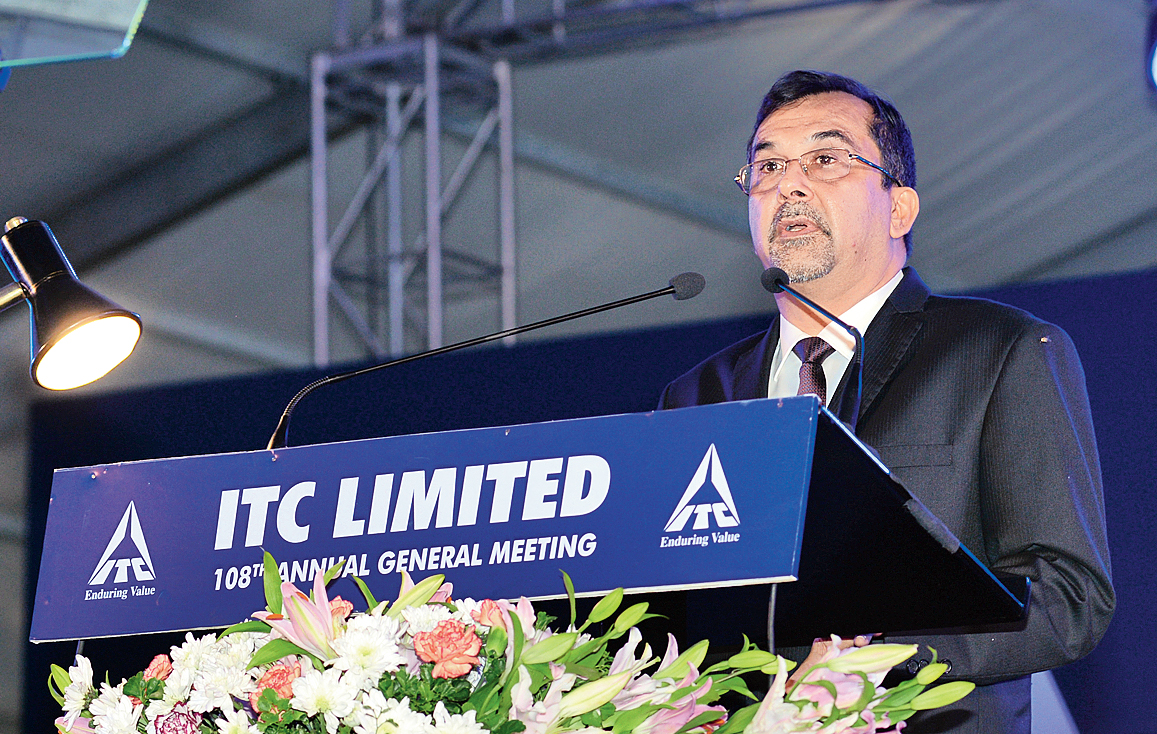 ITC chairman Sanjiv Puri at the AGM in Calcutta on Friday.