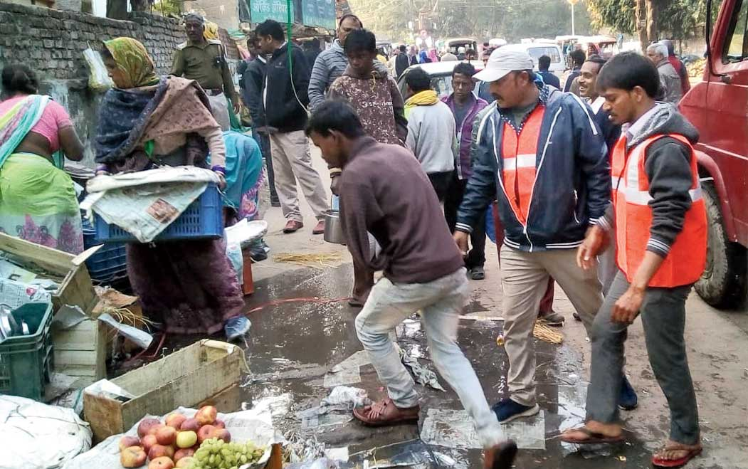 The eviction drive in progress at Kutchery Chowk in Ranchi on Saturday.
