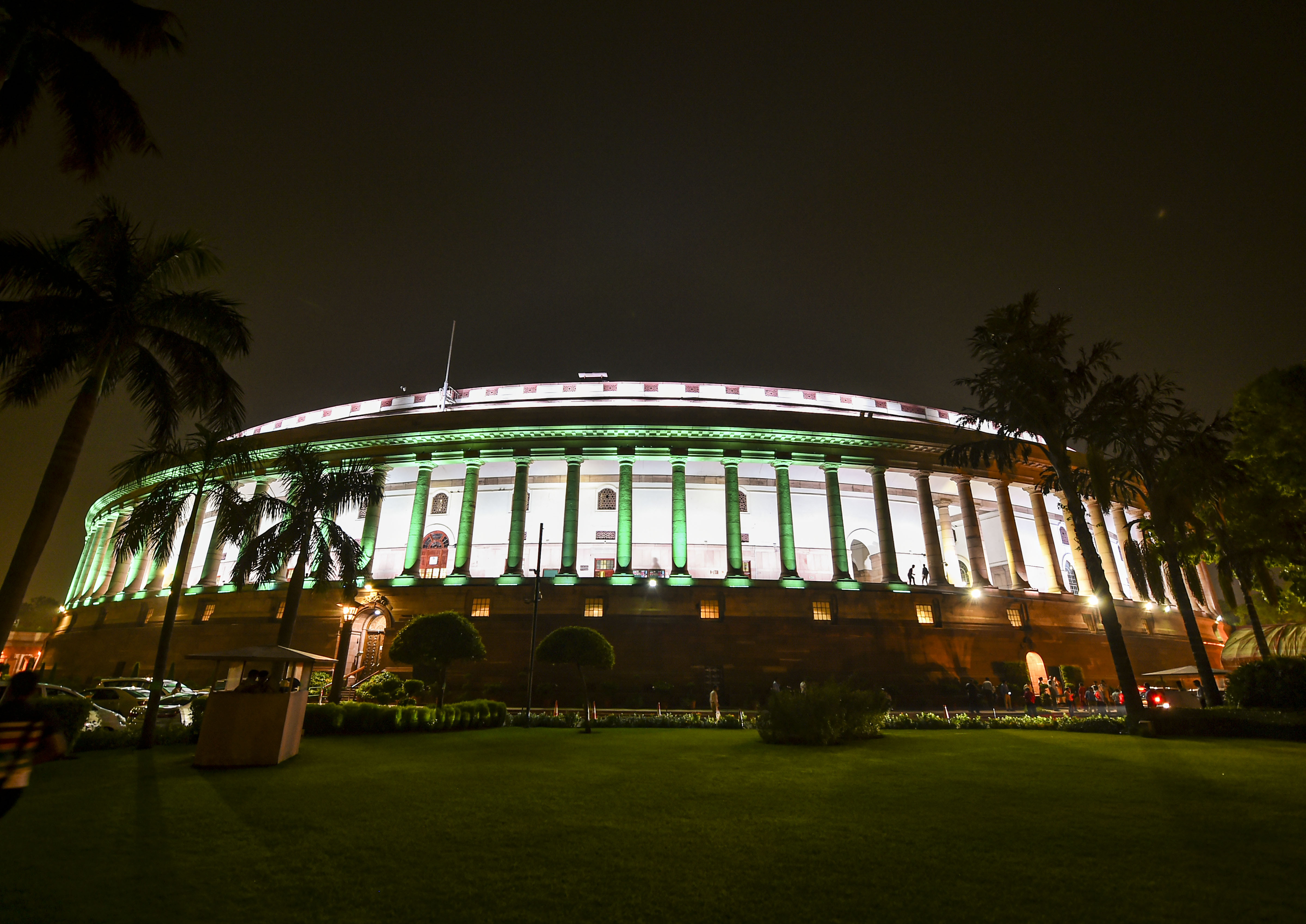 The illuminated Parliament House on August 5 where the BJP central government using a Presidential order scrapped special powers to Jammu and Kashmir under Article 370. The same day, Rajya Sabha passed a bill that split the state into two Union territories.