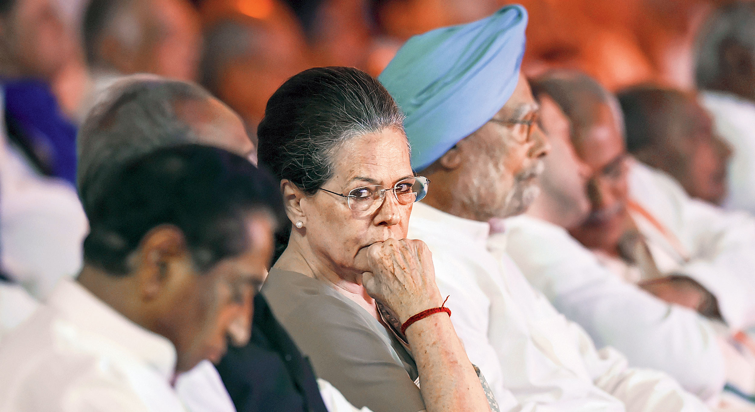 The Congress president, seated in the front row, appeared agitated and then stood up in protest before walking towards the exit. The other Congress MPs followed her, shouting slogans.