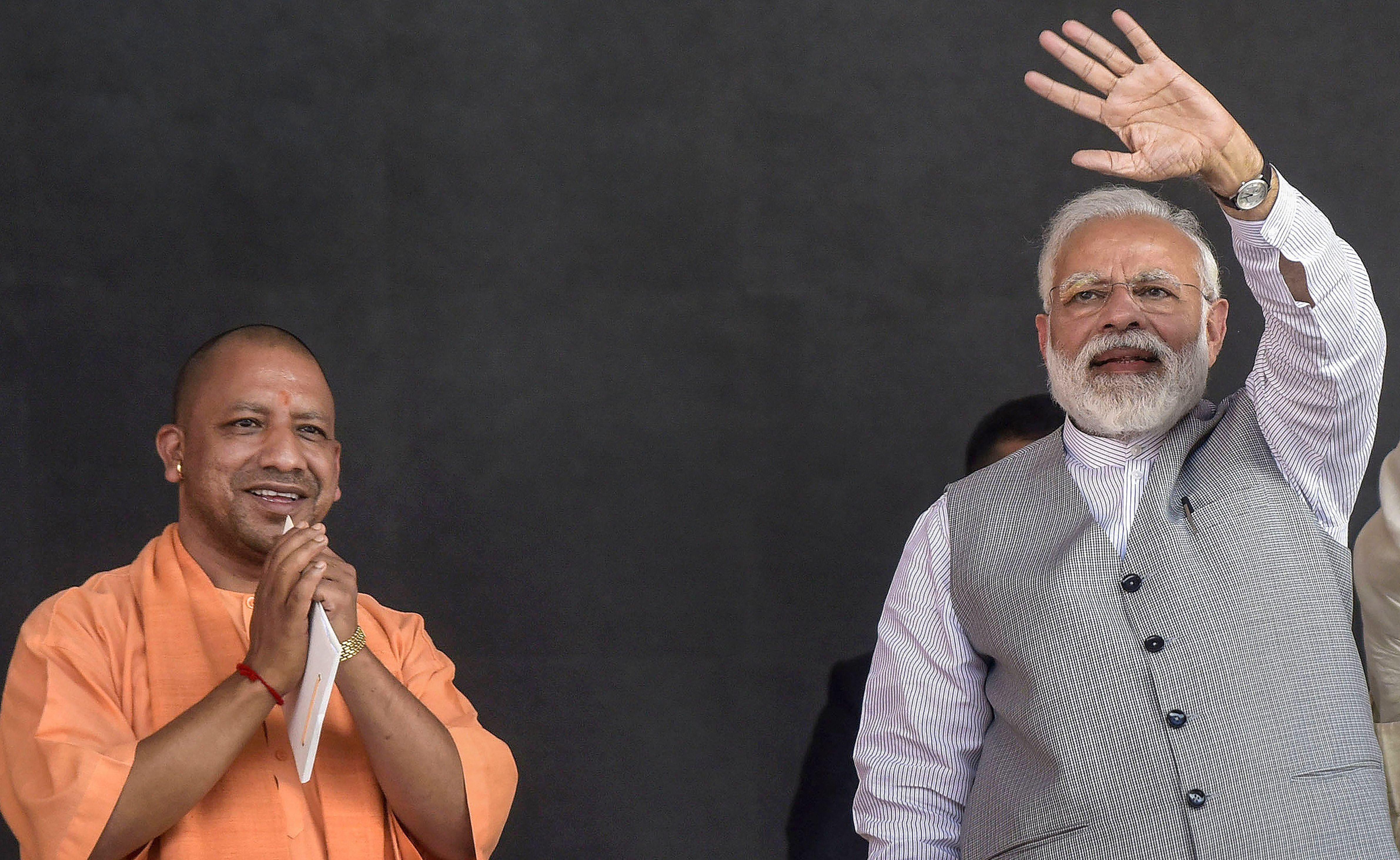 Uttar Pradesh chief minister Yogi Adityanath and Prime Minister Narendra Modi in Greater Noida on March 9, 2019
