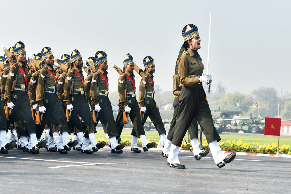 Captain Tania Shergil, the first woman Parade Adjutant, leads all-men contingents during Army Day on January 15, 2020, in New Delhi.