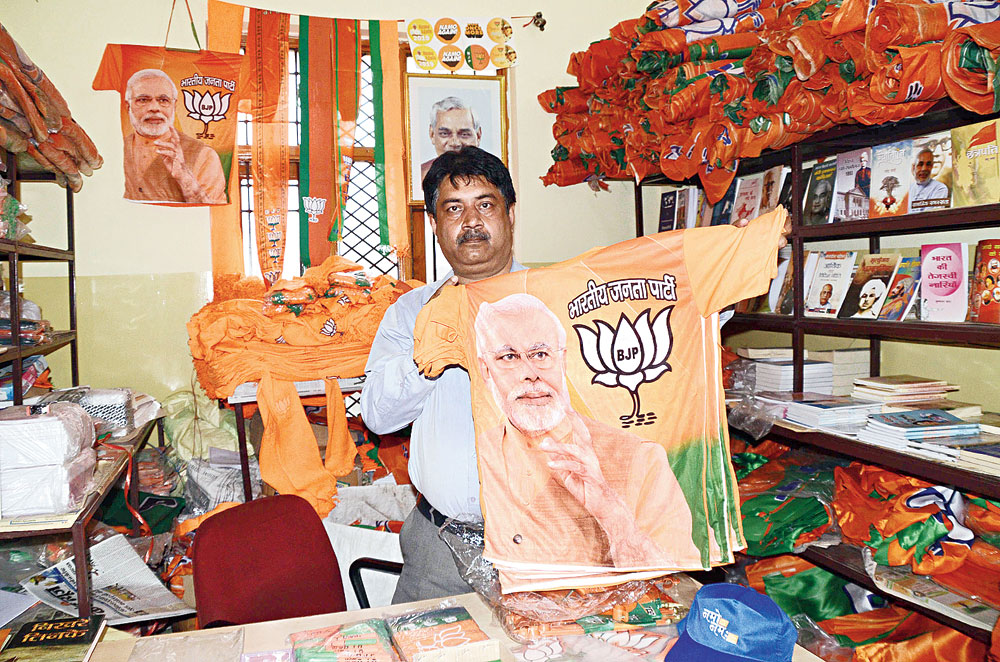 Election retail: BJP merchandise on sale at the party office on Harmu Bypass Road in Ranchi on Monday