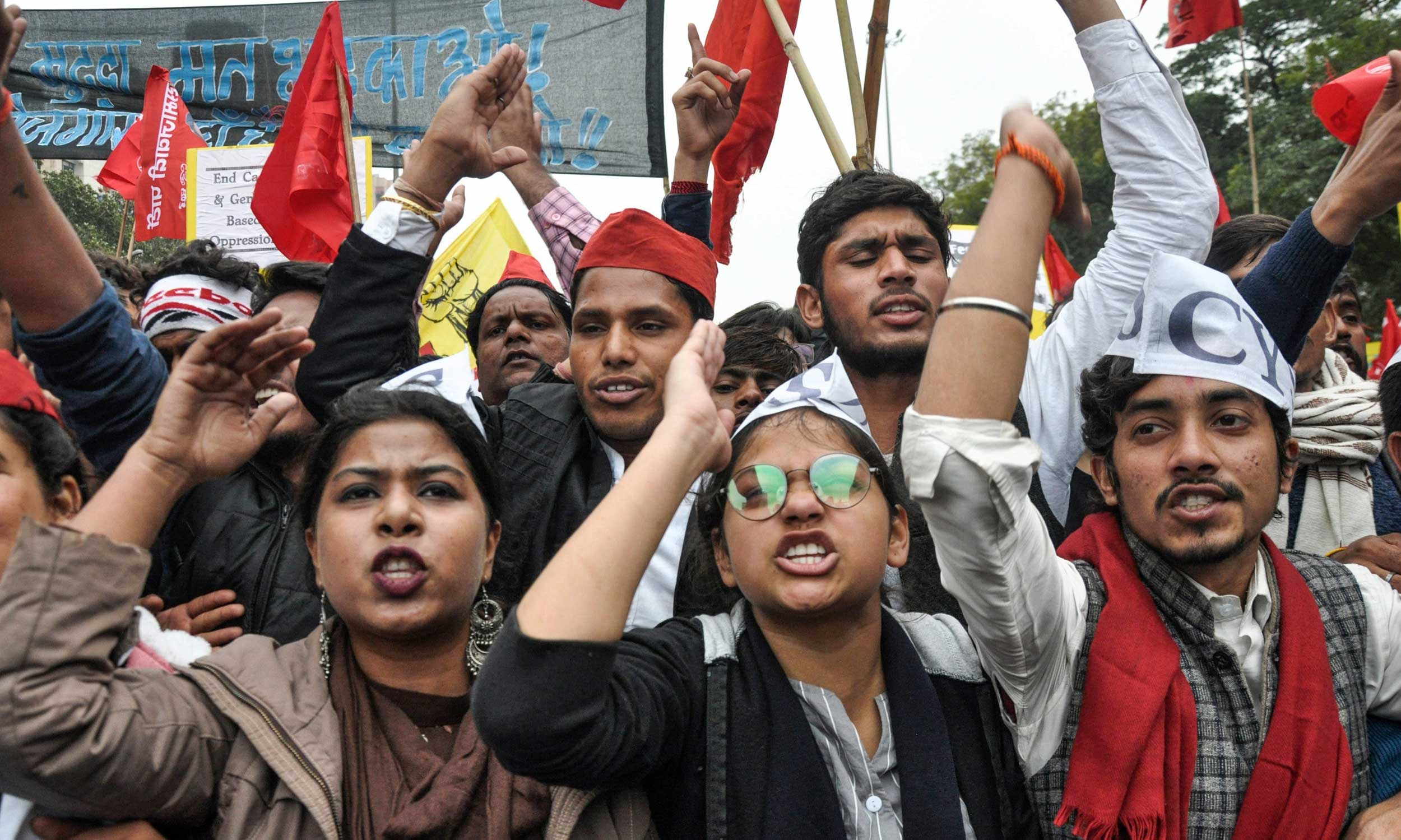 Students at the Young India Adhikar March.