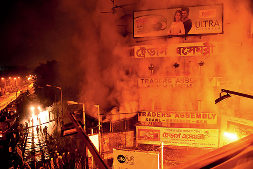 The fire raging outside the Traders Assembly in Calcutta, on Sunday, 20th January