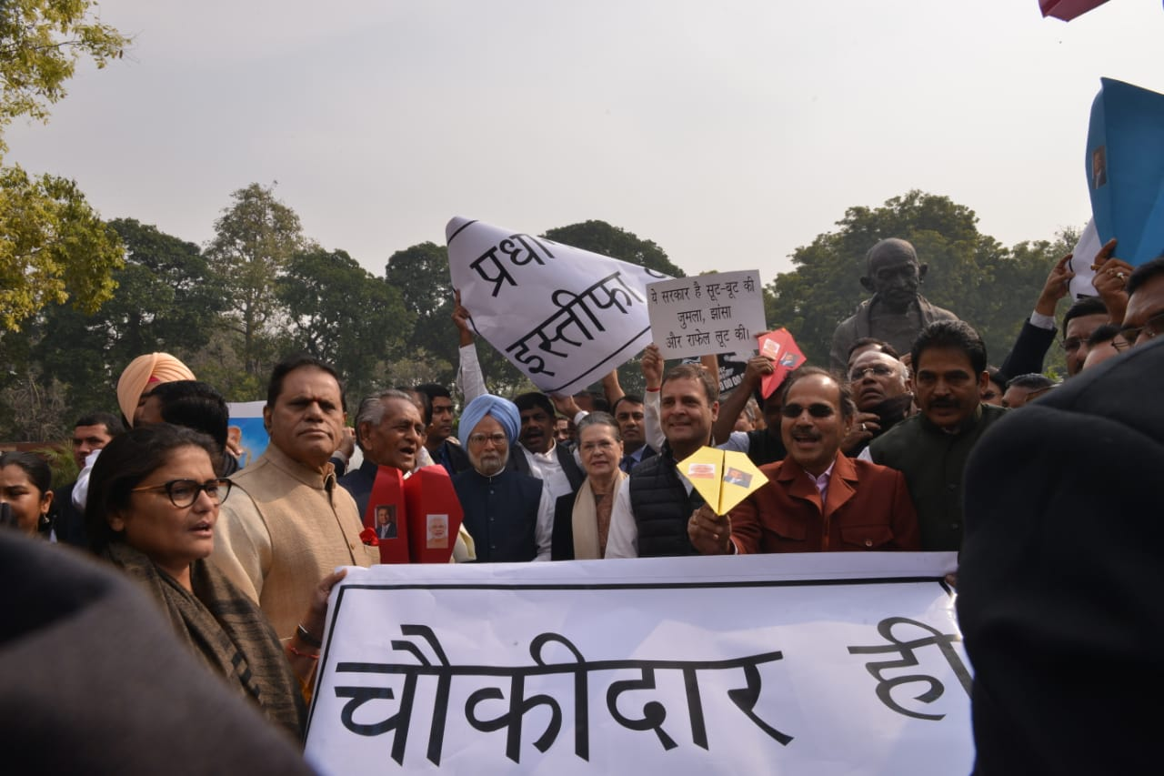 Sonia Gandhi and Rahul Gandhi at a protest over the Rafale deal outside Parliament on Wednesday.