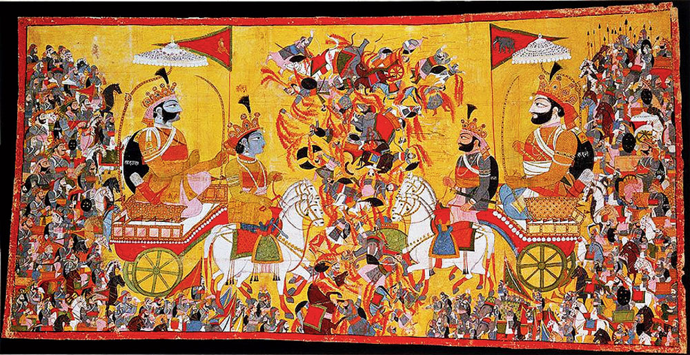 Detail from a painting that depicts a scene from the battle of Kurukshetra of the Mahabharata epic, painted circa 1820