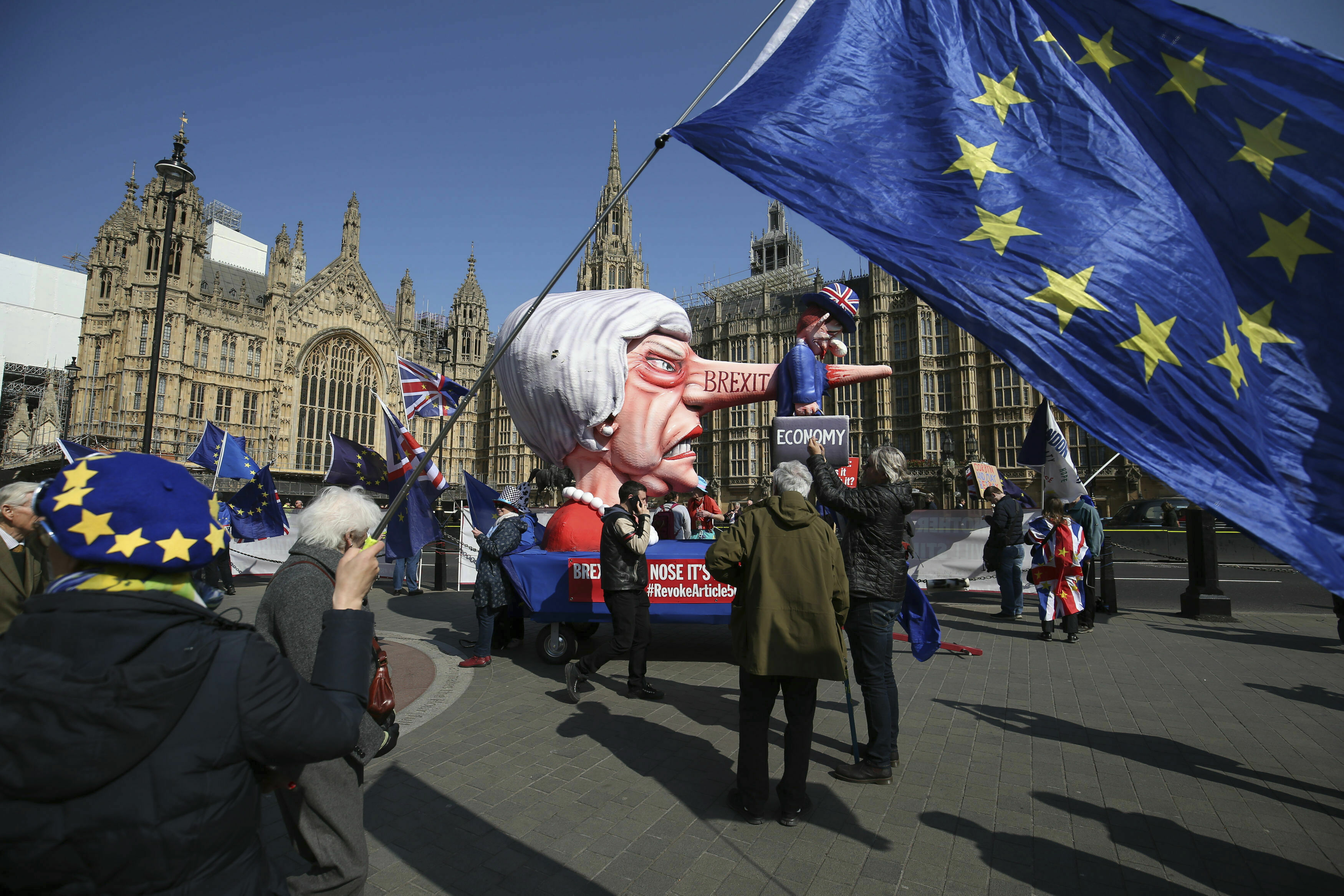 Anti-Brexit demonstrators near College Green at the Houses of Parliament in London, on April 1, 2019.