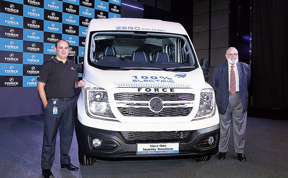Force Motors chairman Abhay Firodia (right) and MD Prasan Firodia in Pune on Wednesday