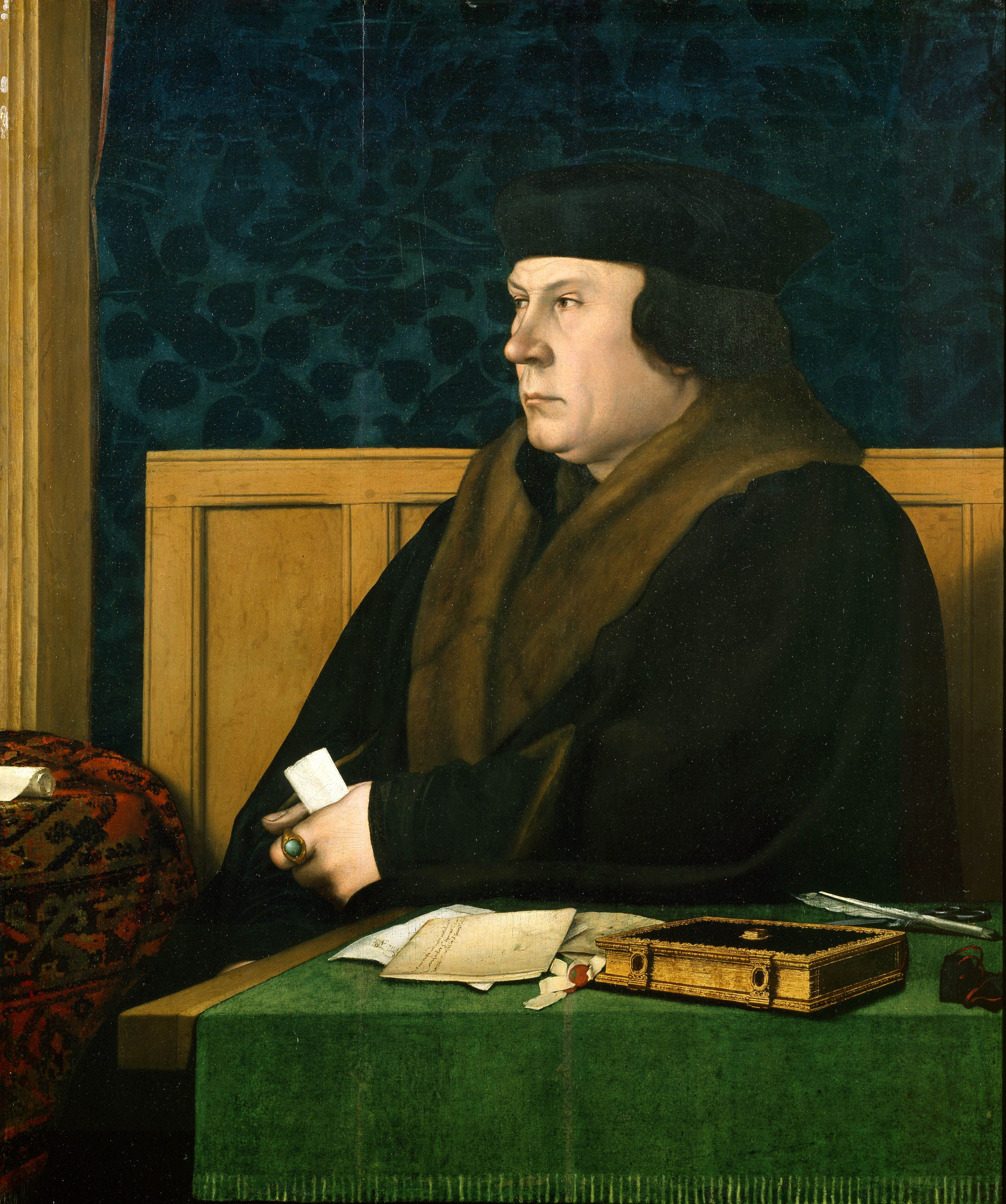 A portrait of Thomas Cromwell by Hans Holbein