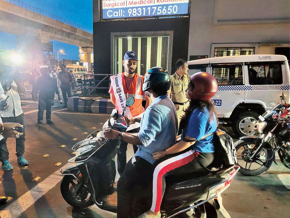 Singh on traffic management duty at the Ruby crossing on Wednesday