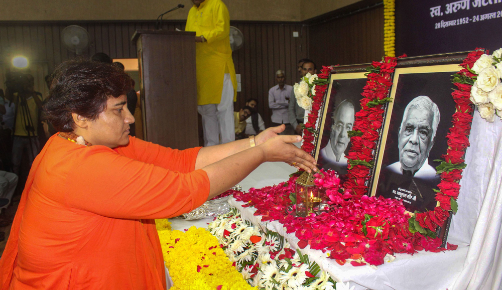 Pragya Singh Thakur pays tributes to former Union minister Arun Jaitley and former chief minister of Madhya Pradesh Babulal Gaur during a condolence meeting at the party's state headquarters in Bhopal, Monday, August 26, 2019.