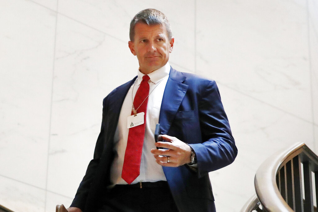 Blackwater founder Erik Prince arrives for a closed meeting with members of the House Intelligence Committee on Capitol Hill in Washington.