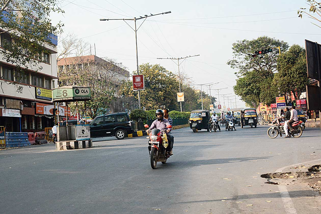 A biker jumps the red light at N-Road intersection in Jamshedpur on Sunday.