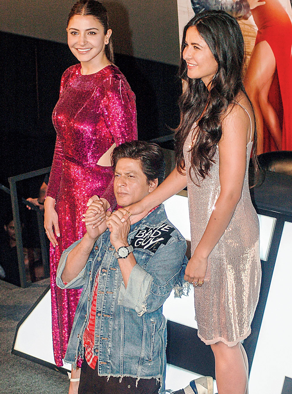 Anushka Sharma, Shah Rukh Khan and Katrina Kaif at Carnival Cinemas in Wadala to launch the trailer of Zero.