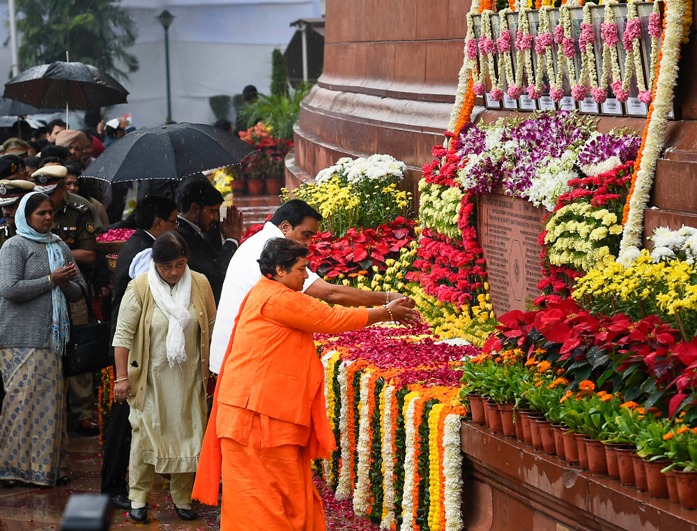BJP MP Pragya Singh Thakur pays tribute to those killed in the 2001 Parliament attack in New Delhi on December 13