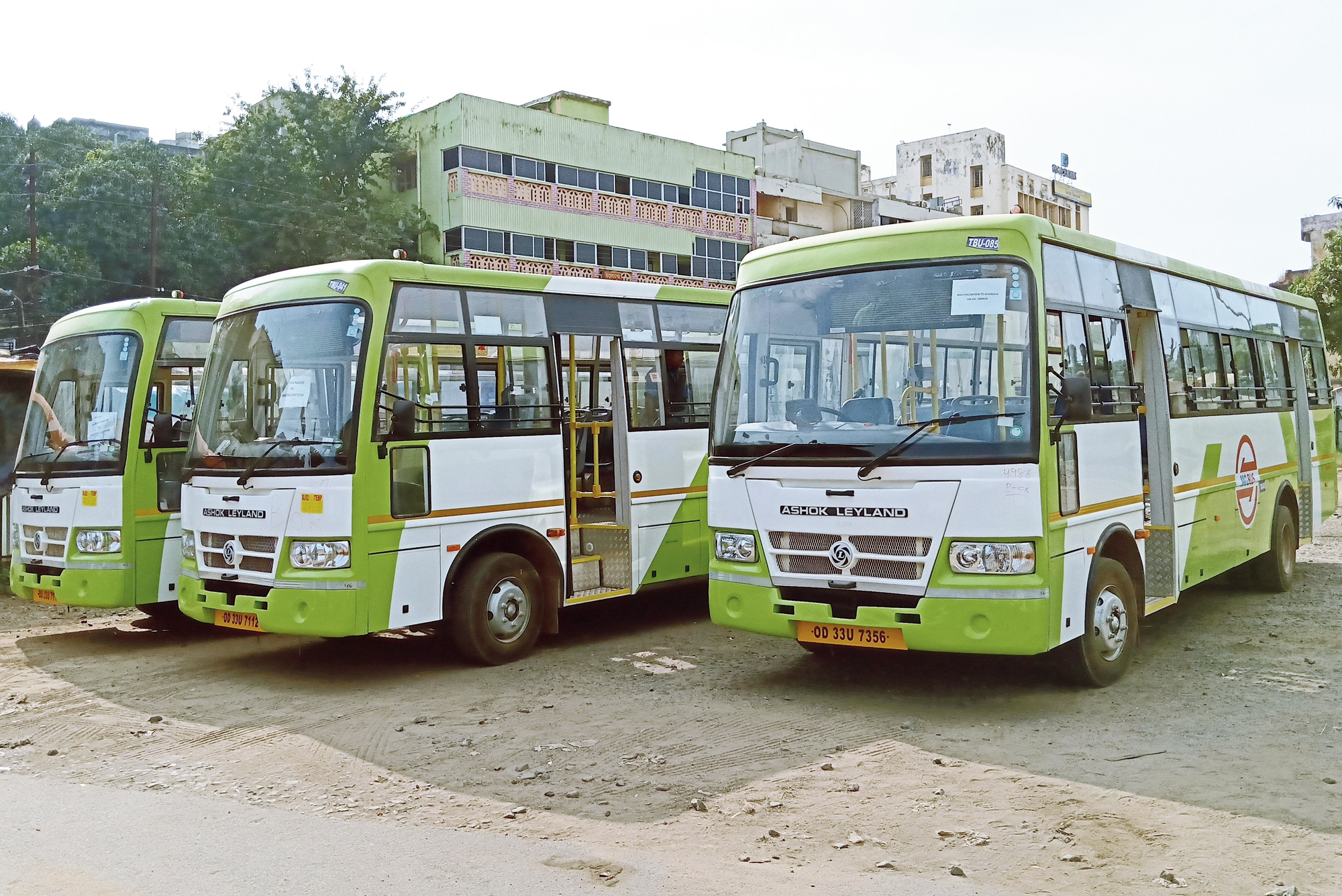 Ready for ride: New buses at Master Canteen bus terminal in Bhubaneswar on Saturday.