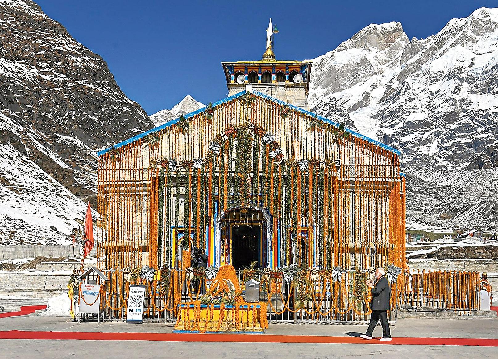 Modi offers prayers at Kedarnath temple on Wednesday.