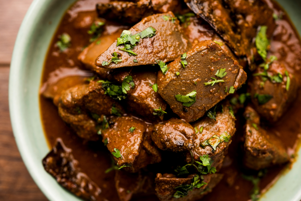Mutton Liver fry or 'Kaleji masala', a popular non-vegetarian recipe from India and Pakistan. The National Museum has decided to do away with non-vegetarian selections from its exhibition, 'Historical Gastronomica: The Indus Dining Experience'.