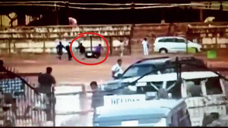The clip shows the black box being carried to the Innova.