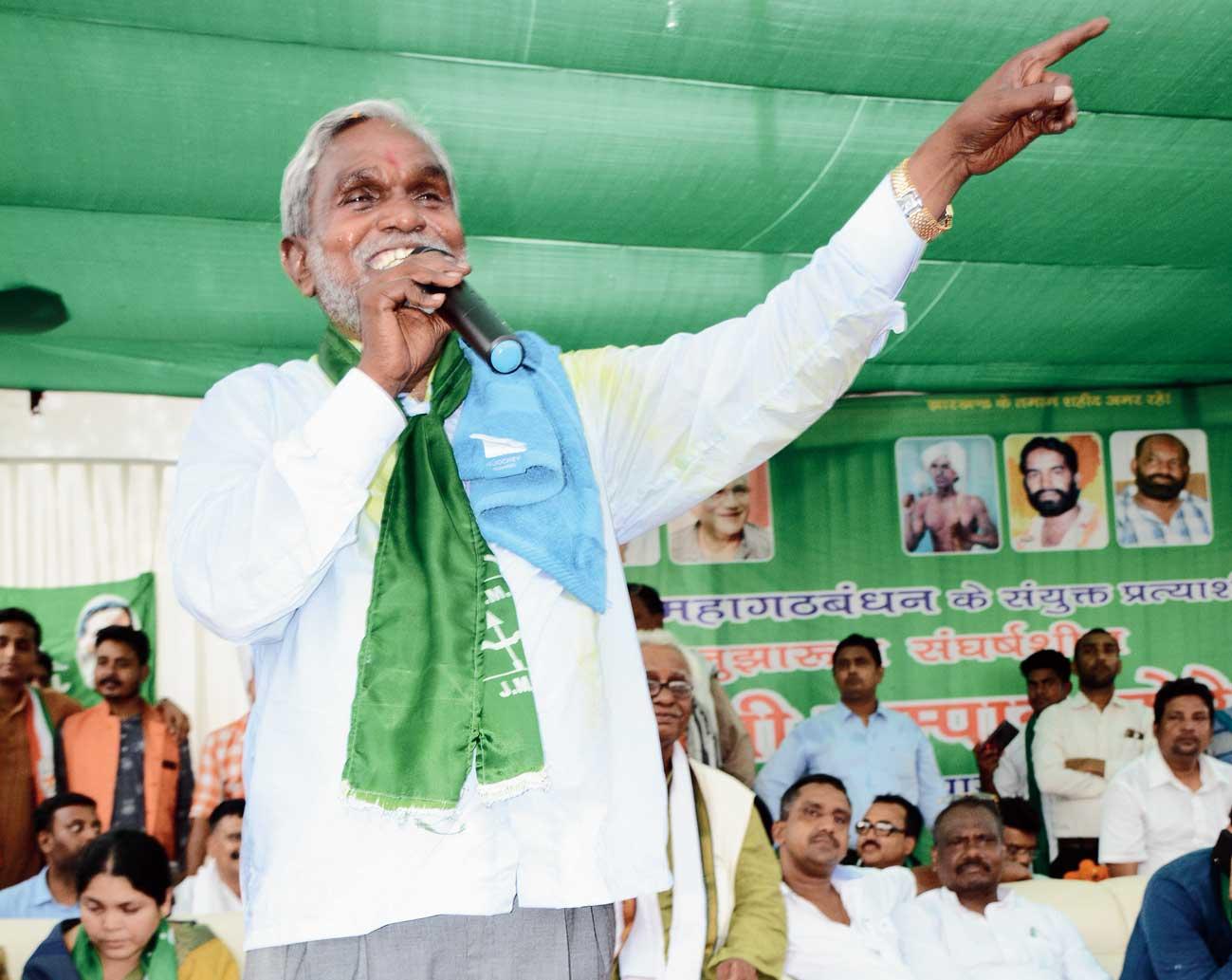 JMM's Champai Soren at an election rally.