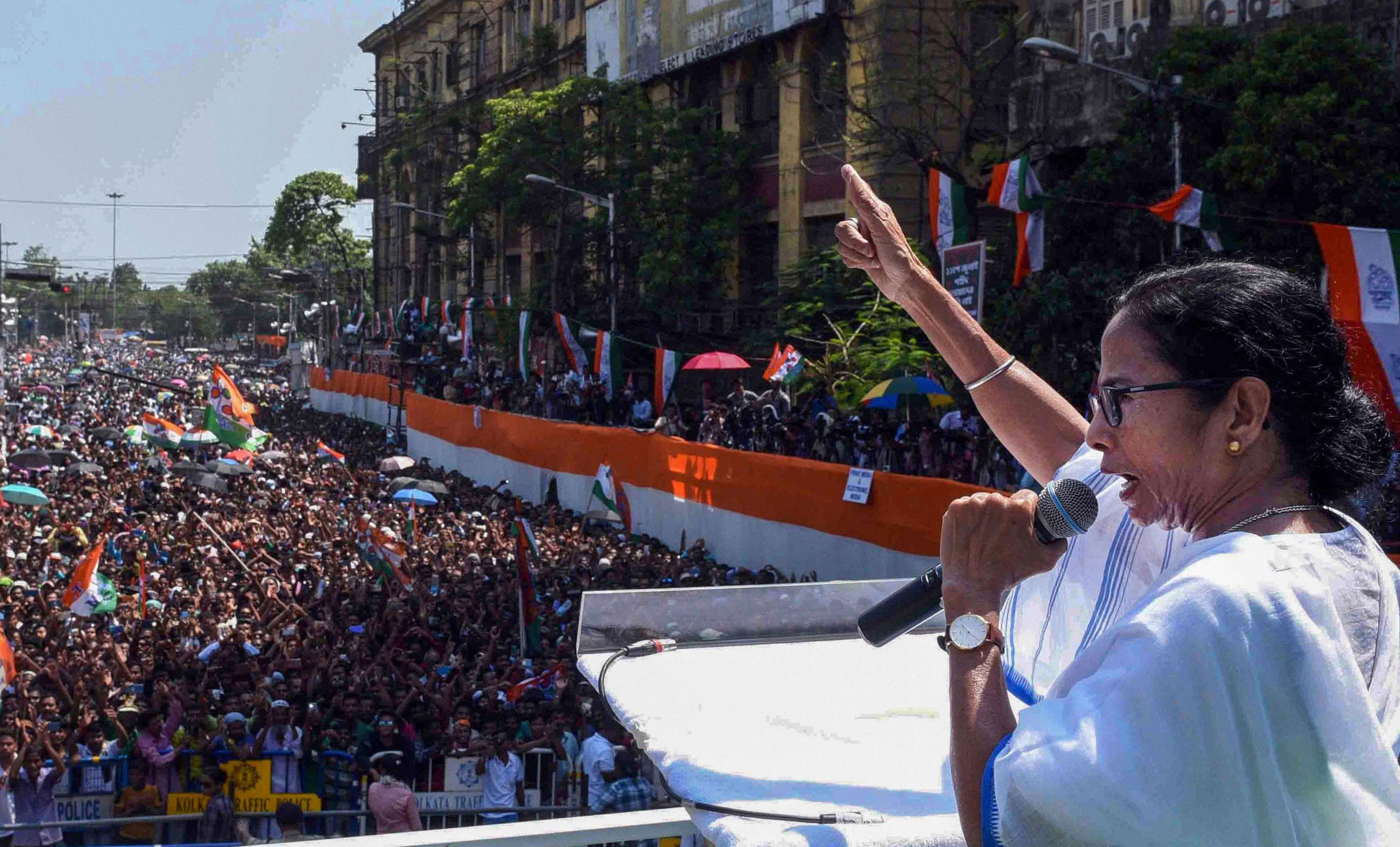 Mamata addresses the meeting in Calcutta on Sunday.