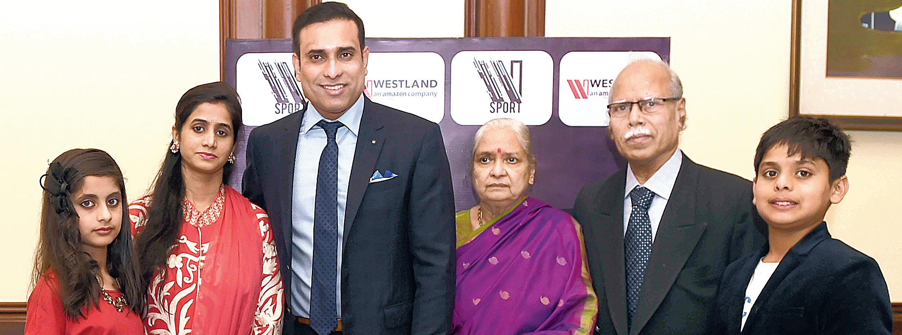 VVS Laxman with parents Dr V. Shantaram and Dr V. Satyabhama, wife Sailaja, daughter Achinthya and son Sarvajit in the city on Wednesday.