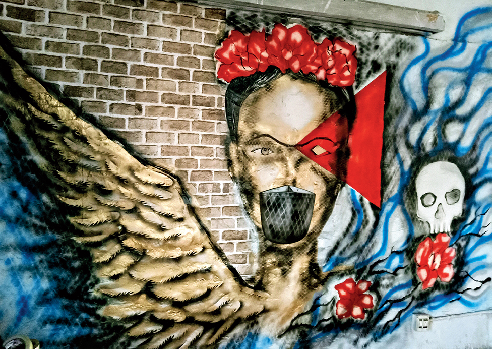 A wall graffiti done by Abhishek Dutta at his Ballygunge residence during the lockdown