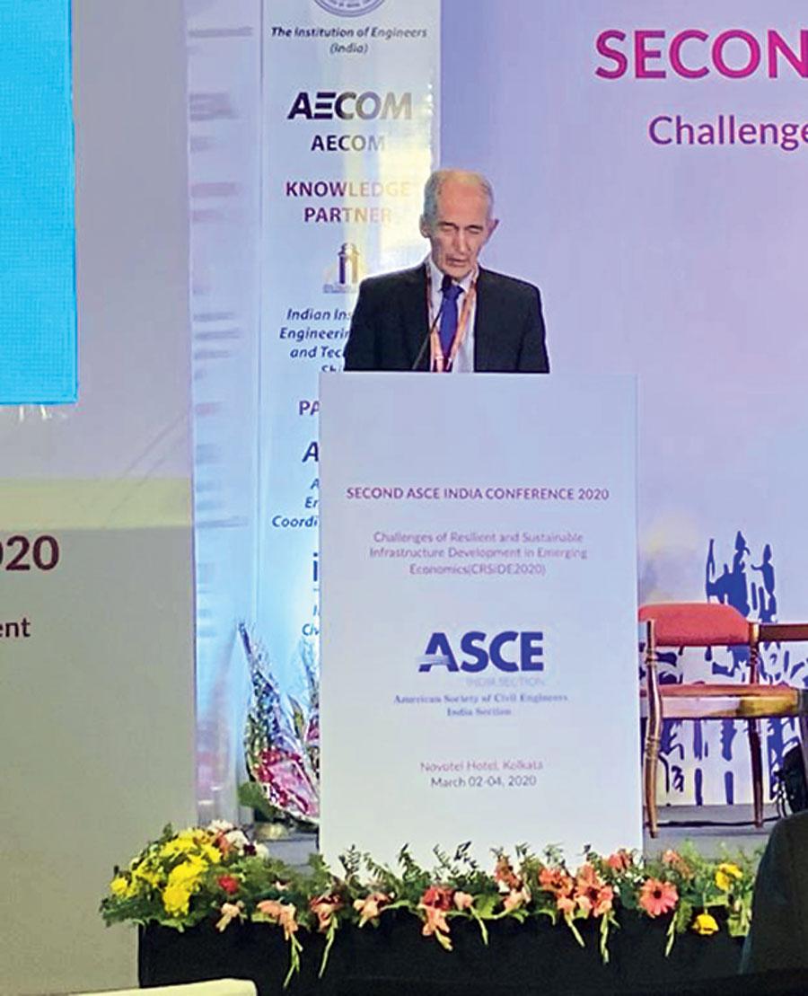 John Endicott, a Hong-Kong based engineer, speaks in Calcutta on Tuesday