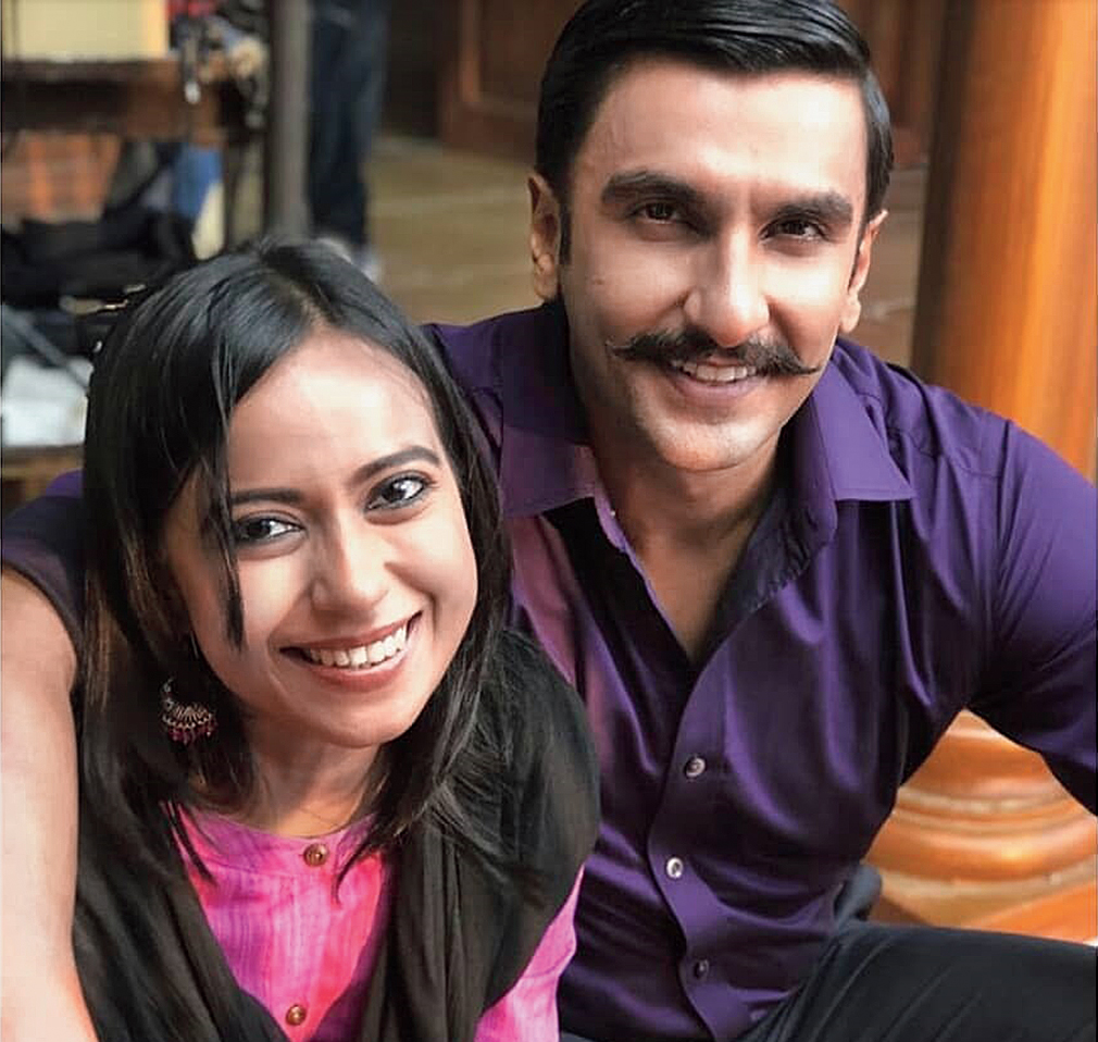 Ronjini with Ranveer Singh on the sets of Simmba.