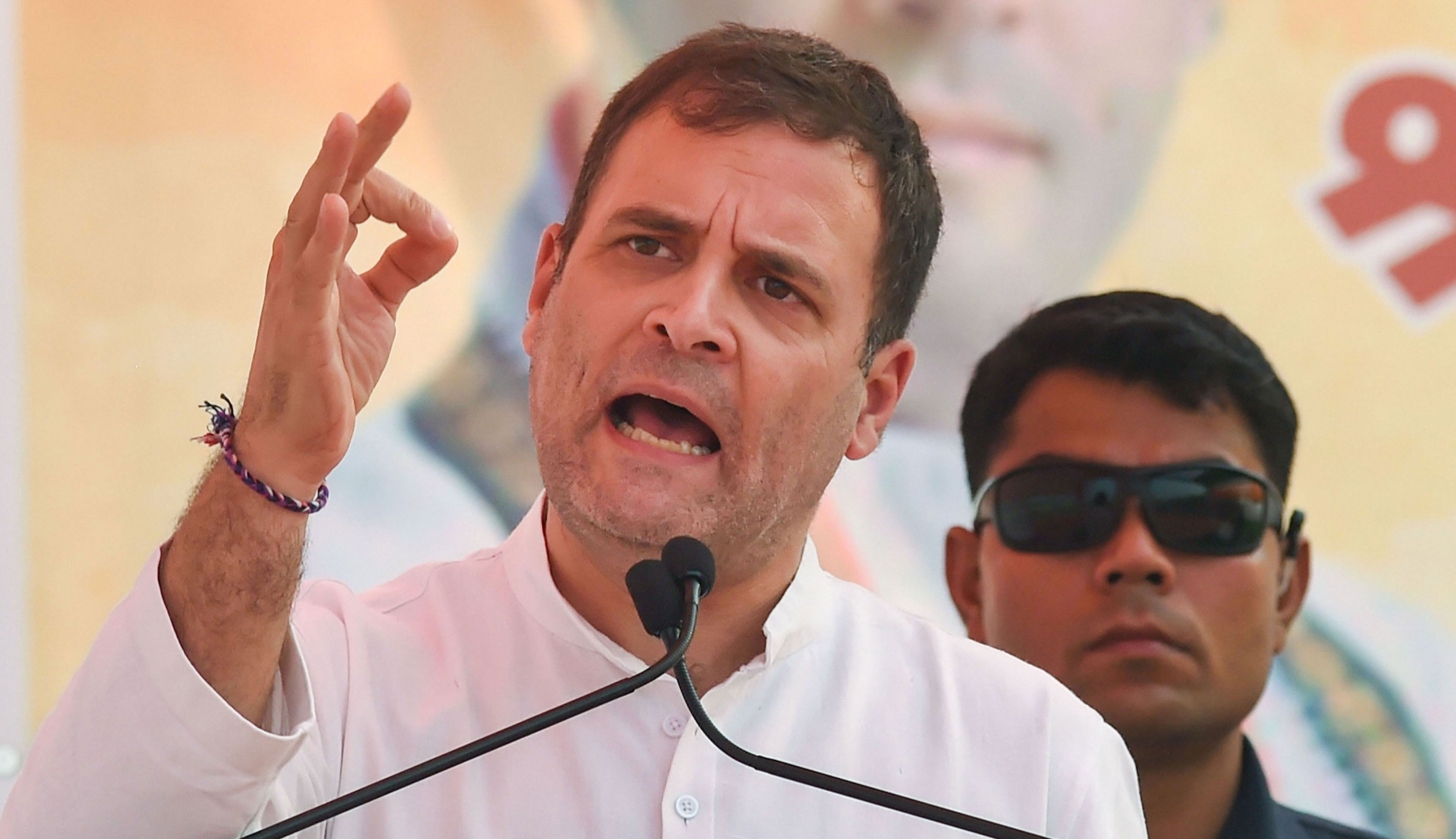 Rahul Gandhi speaks during a rally ahead of Haryana Assembly polls in Nuh district on October 14, 2019.