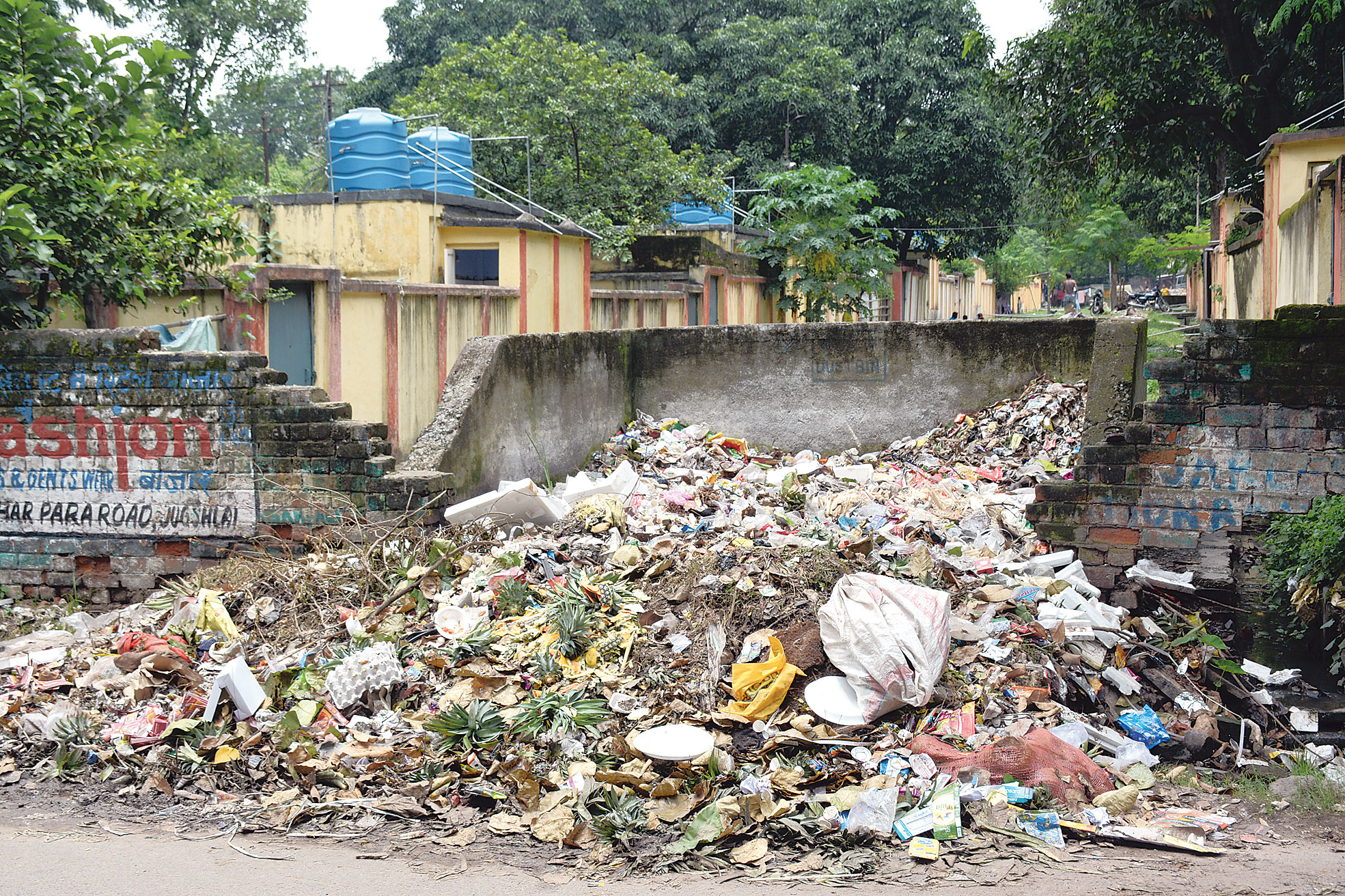 A heap of garbage at Bagbera railway colony in Jamshedpur on Thursday.
